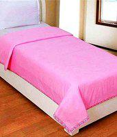 HomeStore-YEP Pink Plain 100% Cotton Single Bed Sheet/Top Sheet/AC Sheet - Pack of 2 Pieces (Size - 60x90 inches)