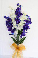ASHIYANADECORS Artificial Orchid Sticks (Blue & White)