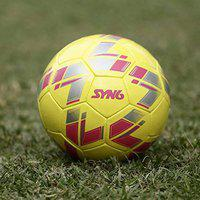 SYN6 Excellent Match Football, Hand Stitched Ball Laminated with 3 Layers of Polyester Cotton, Size 5 (Yellow)