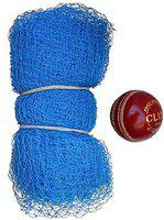 NETCO POWER 42Feet X 10Feet Nylon Cricket Practice Net with 1 Leather Ball 2 Part Side
