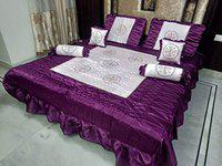 Loomsmith Patch Embroidery Satin King Size Bedding Bedsheet with 2 Pillow Covers, 2 Filled Cushions, 2 Filled Bolsters (Wine,Set of 7)