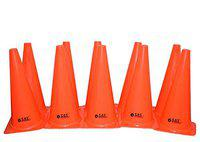 SAS SPORTS 9 Plastic Agility Training Marker Cones for Football, Fitness, Track and Field, Kids, Cricket Field Markers (Orange) - Set of 10