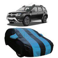 DRIZE Car Cover for Renault Duster with Triple Stitched Fully Elastic Ultra Surface Body Protection (Strips Royal Blue with Mirror Pockets)