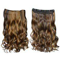 Confidence Clip Hair Extension Curly For Daily Use, Synthetic Extension For Women And Girls, 20 Gram, Pack Of 1 (Light Brown Highlighting)