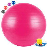 FITSY Anti-Burst Yoga Exercise Gym Ball with Foot Pump, 65 cm, Pink (AR2233-PNK)