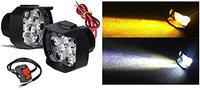 Auto Hub Double Color Shilon 9LED High Brightness Anti Fog Headlight with Switch - (Pack of 2, White-Yellow)