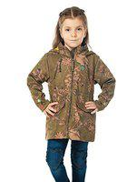 Cherry Crumble California Floral Suede Coat for Girls Full Sleeves (Olive Green, 11-12 Years)
