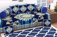 Livmoda Velvet Chenille Diwan Set Covers (Content: 1 Single Bed Sheet, 5 Cushion Cover, 2 Bolster Cover, Total - 8 Pieces Set, Exclusive Premium Design-Heavy Fabric)-Blue