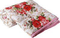 Mahadev Handicrafts Cotton Gold Red Flowers Printed Dohar Double Bed Reversible AC Dohar | Blanket | AC Comfort(Red-Flower-D)