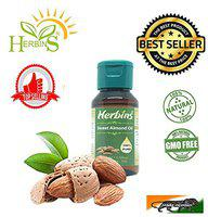 Herbins sweet almond oil for skin care, hair growth, massage oils - 50ml