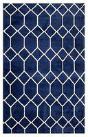 Saral Home Modern Carpet (Blue, Polyester And Polyester Blend, 4 X 6 Feet)