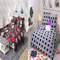 VYBBA Combo BEDSHEET Set of 2 Double BEDSHEET with 4 Pillow Covers