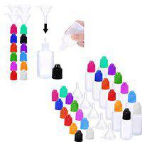 DIY Crafts Plastic Bottle with Tamper Evident Cap + 1 Funnel (Pack of 15 Pcs, Bottle + Funnel)