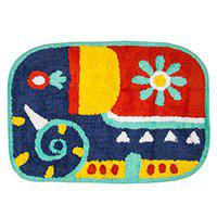 Chumbak Snug Elephant Bath Rug - Blue