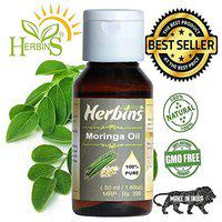 Herbins natural, undiluted cold pressed moringa oleifera oil for anti-aging, acne, dark spots, black heads & scars-50ml
