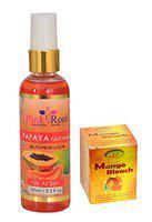 PINK ROOT Papaya Face Wash 100ml With Mango Bleach 50gm