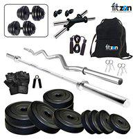 FITZON PVC 100KG Combo 2-SL Home Gym Set with ONE 5 FT Plain, ONE 3 FT CURL and ONE Pair Dumbbell RODS Comes with Home Gym Accessories