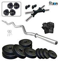 FITZON PVC 30KG Combo 4-WB-SL Home Gym Set with ONE 3 FT CURL and ONE Pair Dumbbell RODS Comes with Home Gym Accessories