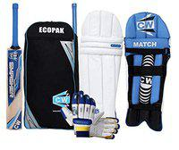 CW Smasher Cricket 4 Item Kit (Blue Kashmir Willow Bat Set Size 4, Bag, Pads and Glove) for 7-8 Years Kids
