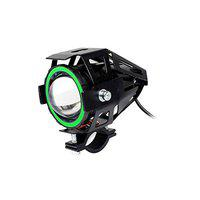 Pivalo PVU7GP1 U7 Mini CREE LED Fog Light Work Lamp with High/Low, Flashing Beam for Cars and Motorcycles (12W, White & Green, 1 Pc)