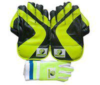 Plumcot, Cricket Wicket Keeping with Inner Gloves, Club KG3000, Men Size, in Green