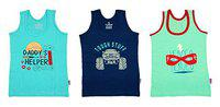 Yorker Graphic Printed Cotton Vest for Kids & Boys Multi Colored Pack of-3