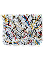 Anekaant Globlie Beaded Canvas Sling Bag White & Black