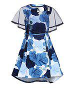 Aarika Girls Midi/Knee Length Casual Dress(Blue, Sleeveless)
