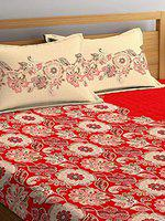 Portico New York Vienna 144 TC Queen Bedcover with 2 Pillow Covers - Multicolour