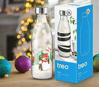 Treo by Milton Ivory Premium Glass Printed Bottle 1000 ml, 1 Pc, Snowman