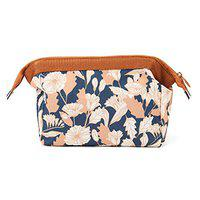 Style Homez MAGNA, Travel Cosmetic Makeup Carrying Pouch Bag cum Organizer for Women, Toiletry Kit and Jewelry Organizer (Brown Daisy)