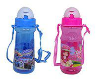 Confidence Attractive Cartoon Water Bottle with Straw for School Going Kids 25 Gram Pack of 1 (Set of 2)