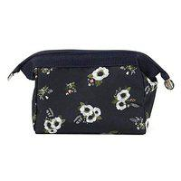 Style Homez MAGNA, Travel Cosmetic Makeup Carrying Pouch Bag cum Organizer for Women, Toiletry Kit and Jewelry Organizer (Navy Blue Flower)