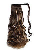 Morges Curly Hair Extension Ponytail With Ribbon To Tie Up Easily For Girla And Women Golden Brown Pack Of 1