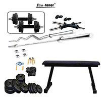 Protoner 10 kg with Flat Bench Home Gym Fitness Package