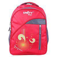 UNITY BAGS Girl's and Boy's Nylon Polyester Multi-Pocket 35 L Waterproof Casual School Bag (Red)