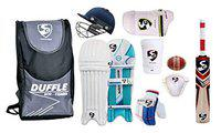 SG Full Cricket Kit with Duffle Bag and with Slax Ball (Size 4 Ideal for Age Between 8 to 9 Year)