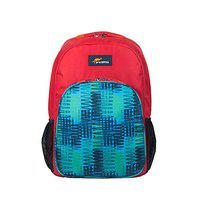 Protecta Grade A 30 Ltrs School Bag - Red and Modern Green Print