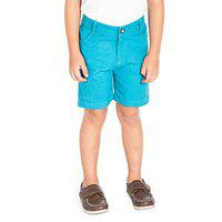 Cherry Crumble California Boys Casual Shorts Soild Cotton Fabric for Kids Regular Fit (Sea Green)