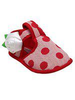 D'chica Polka Love Soft Sole Booties for Girls Red
