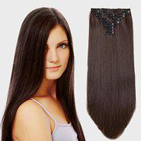 Rapidsflow 10pc Synthetic Straight Hair Extension For Women And Girls 28 inch 200gram (Dark Brown)