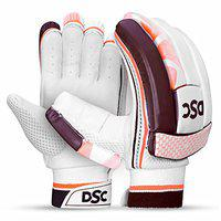 DSC Intense Rage Leather Cricket Batting Gloves, Youth Right (White Red)