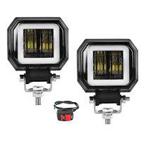 Spidy Moto 20W Square Super Bright Off Road CREE LED Spot Driving Fog Angle Eye Ring Light with Switch for Bikes and Cars