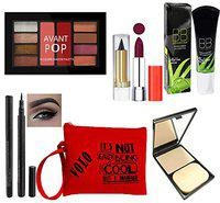 volo All In One Makeup Kit (1 Lipsticks,1 Eye Shadow, 1 BB Cream,1 Eyeliner, 1 Compact, 1 Kajal, 1 Pouch) Set of 7 Pcs (nude)