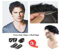 BOXO Men's Hair Wigs Toupee with Red Tape and Clips Hair Patch Toupee System 80 g 7 * 5 (Black)