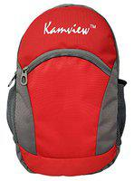 Kamview 16 L Small School and College Bag Red Grey for Boys and Girls