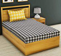 RRC Gless Cotton Single bedsheets with 1 Pillow Covers - Single Bed Size(60 x 90) (Lemon)