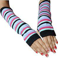 PinKit Fashion Women, Girl Striped Gloves UV Protection Cotton Cooling Arm Sleeves - UPF 50 Sun Sleeves for Cycling, Driving, Running, Basketball, Football & Outdoor Activities - 1 Pair
