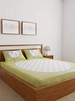 Ispace 104 TC Cotton Double Bedsheet with 2 Pillow Covers - White
