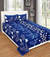 panipat Textile Zone Microfibre Double Bedsheet with 2 Pillow Covers 90 x 92 inch